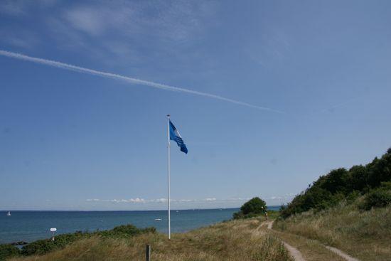 Blåt flag på Gillelejes strande